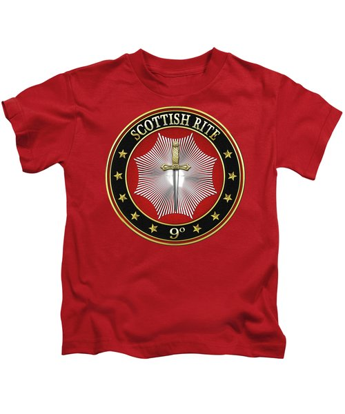 9th Degree - Elu Of The Nine Jewel On Red Leather Kids T-Shirt by Serge Averbukh