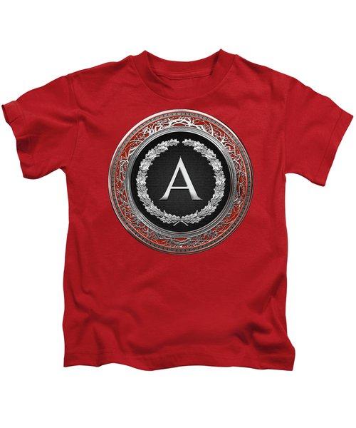 A - Silver On Black Vintage Monogram In Oak Wreath Over Red Velvet Kids T-Shirt