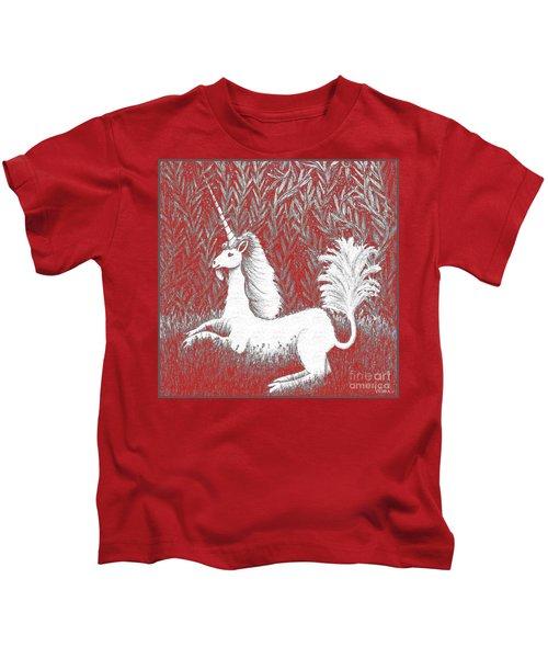 A Unicorn In Moonlight Tapestry Kids T-Shirt