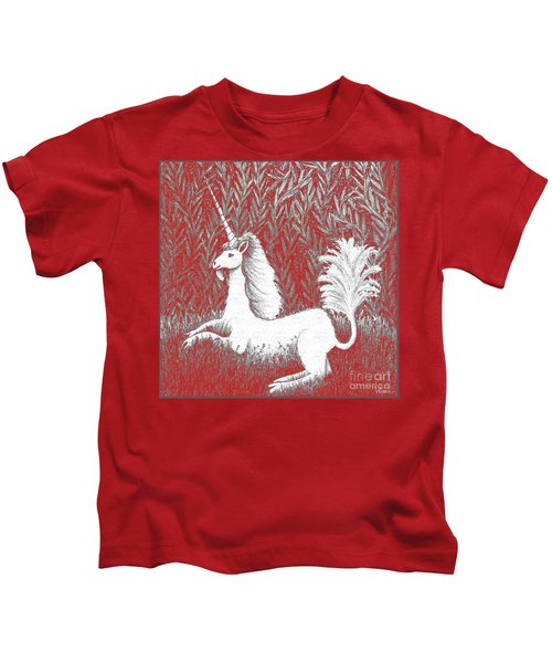 A Unicorn In Moonlight Tapestry Kids T-Shirt
