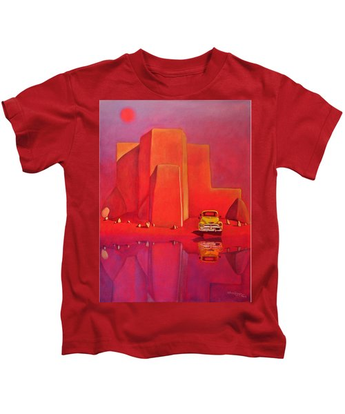 A Yellow Truck With A Red Moon In Ranchos Kids T-Shirt