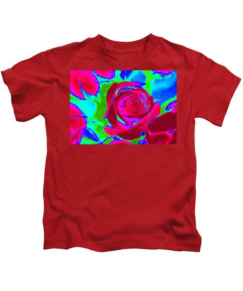 Burgundy Rose Abstract Kids T-Shirt