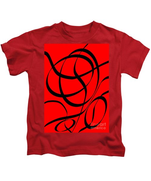 Abstract Design In Red And Black Kids T-Shirt