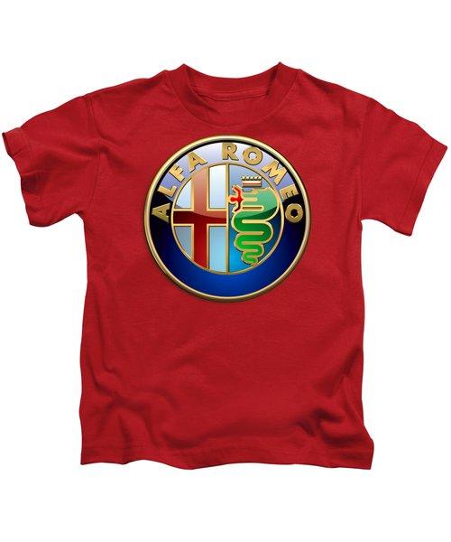 Alfa Romeo - 3d Badge On Red Kids T-Shirt