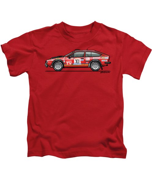 Alfetta Gtv Turbodelta Jolly Club Fia Group 4 1980 Sanremo Rallye Kids T-Shirt
