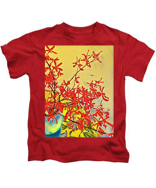 Aloha Bouquet Of The Day -- Red Orchids In Blue Vse Kids T-Shirt