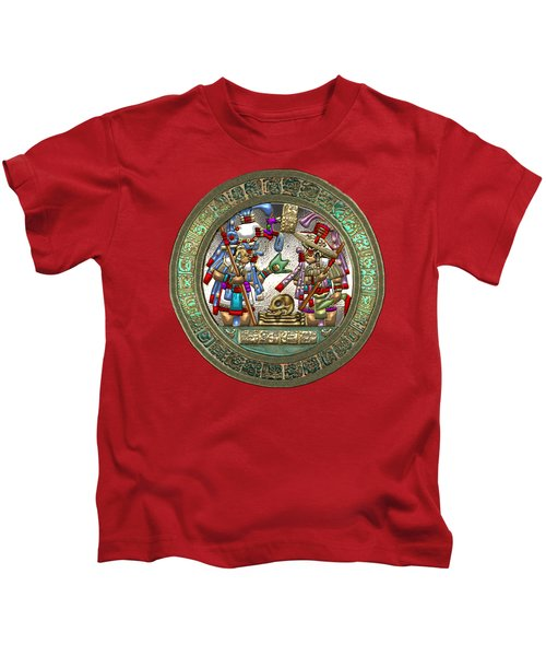 Altar 5 From Tikal - Mayan Nobles Performing A Ritual - On Black And Red Leather  Kids T-Shirt