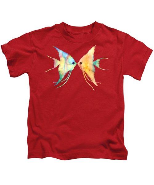 Angelfish Kissing Kids T-Shirt by Hailey E Herrera