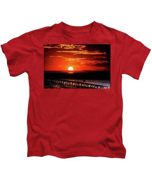 Antelope Island Marina Sunset Kids T-Shirt