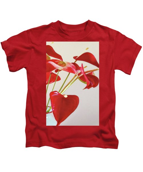Anthurium Fragments In Red Kids T-Shirt