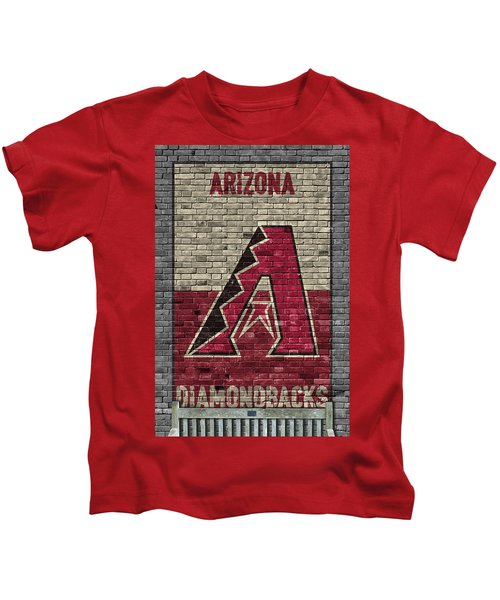 Arizona Diamondbacks Brick Wall Kids T-Shirt by Joe Hamilton