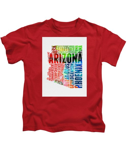 Arizona Watercolor Word Cloud Map  Kids T-Shirt by Naxart Studio
