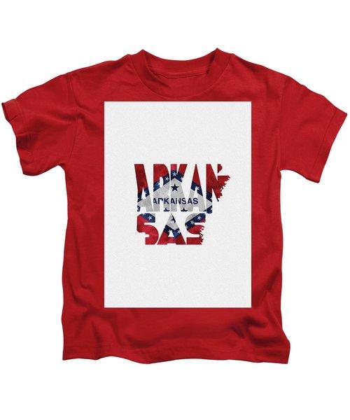 Arkansas Typographic Map Flag Kids T-Shirt