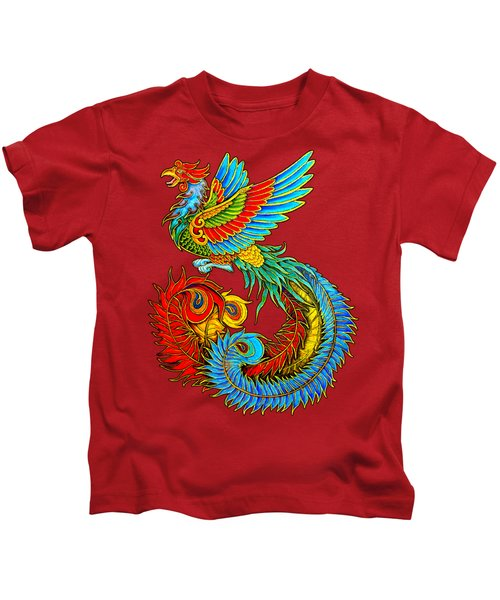Fenghuang Chinese Phoenix Kids T-Shirt by Rebecca Wang
