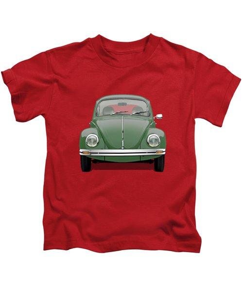Volkswagen Type 1 - Green Volkswagen Beetle On Red Canvas Kids T-Shirt