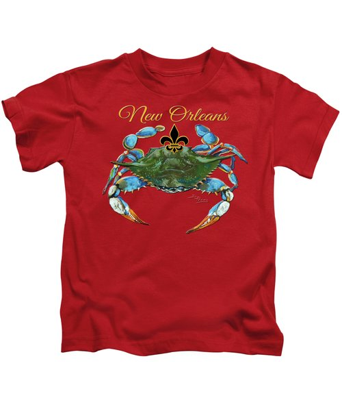 Louisiana Blue On Red Kids T-Shirt