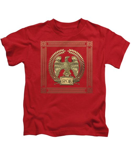 Roman Empire - Gold Imperial Eagle Over Red Velvet Kids T-Shirt