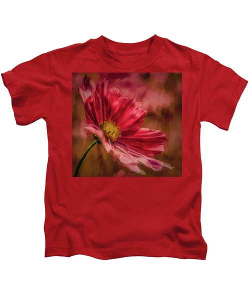 Aster Red Painterly #h1 Kids T-Shirt