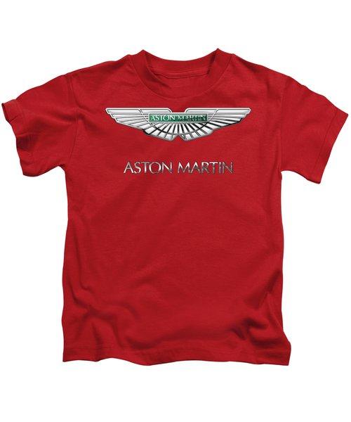 Aston Martin - 3 D Badge On Red Kids T-Shirt