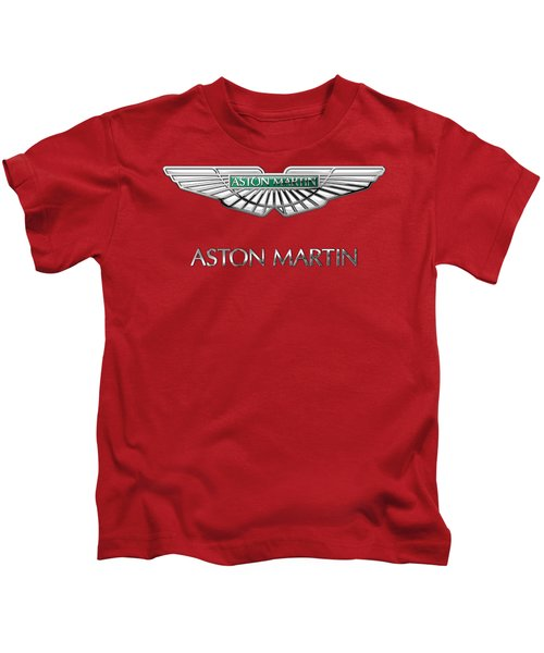 Aston Martin - 3 D Badge On Red Kids T-Shirt