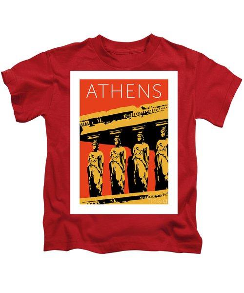 Athens Erechtheum Orange Kids T-Shirt