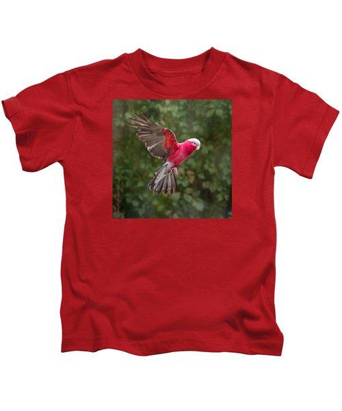 Australian Galah Parrot In Flight Kids T-Shirt