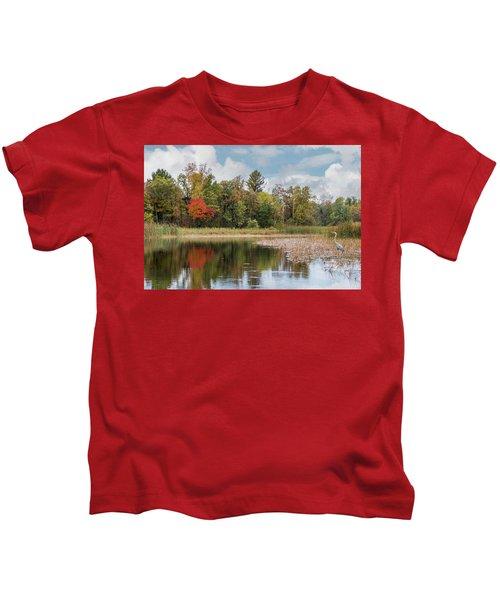 Autumn Blue Heron Kids T-Shirt