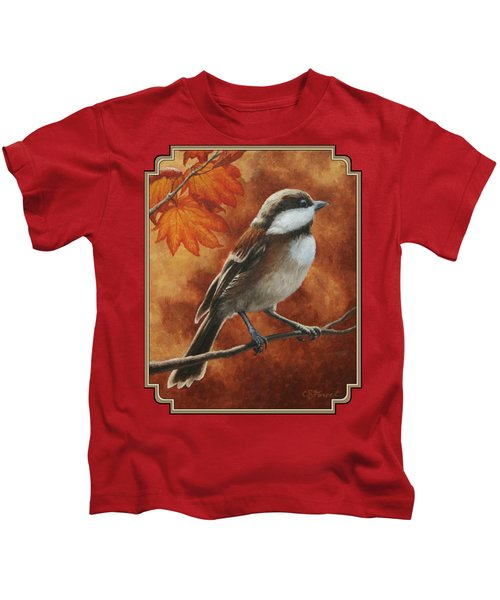 Autumn Chickadee Kids T-Shirt by Crista Forest