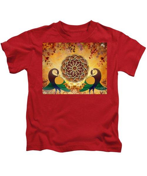 Autumn Serenade - Mandala Of The Two Peacocks Kids T-Shirt