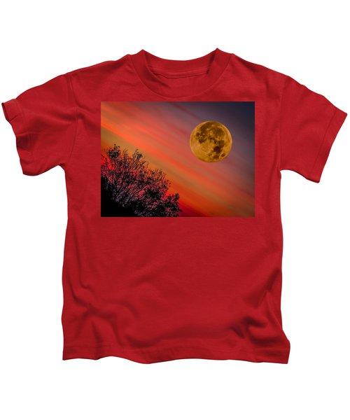 Kids T-Shirt featuring the photograph Autumn Super Moon And Irish Sunrise by James Truett