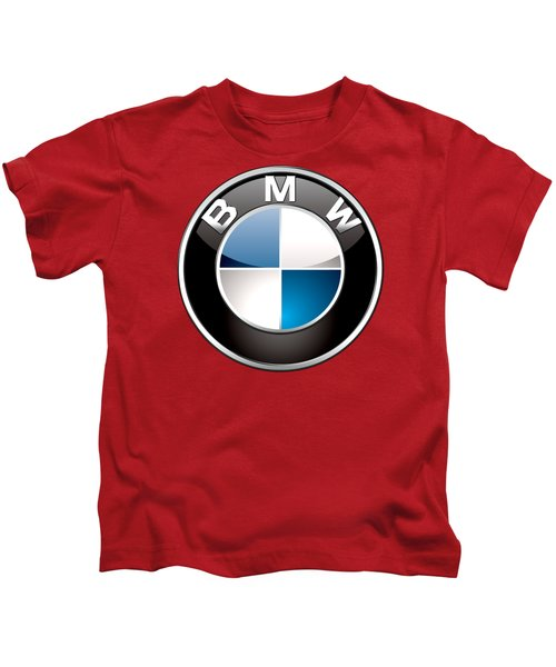 B M W Badge On Red  Kids T-Shirt by Serge Averbukh