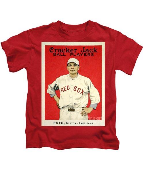 Babe Ruth Cracker Jack Card Kids T-Shirt by Jon Neidert