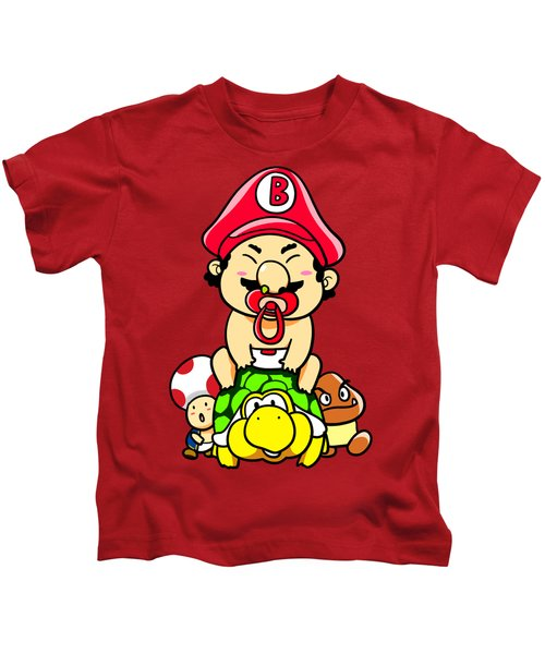 Baby Mario And Friends Kids T-Shirt by Paws Pals