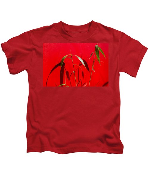 Bamboo Against Red Wall Kids T-Shirt