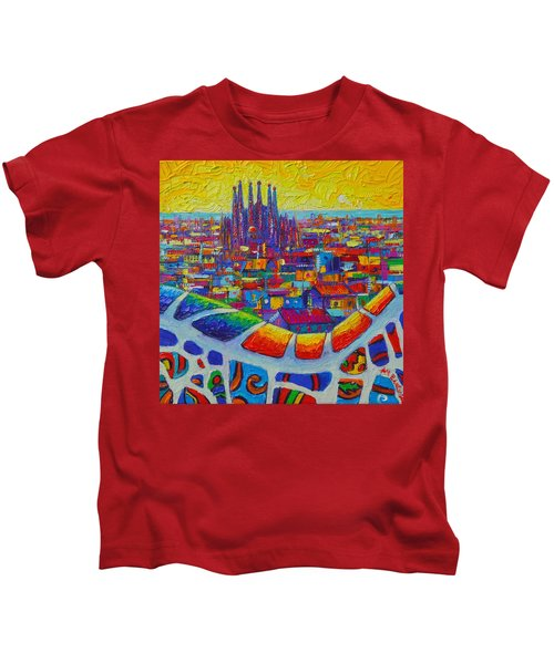 Barcelona View Sagrada From Park Guell Impressionist Abstract City Knife Painting Ana Maria Edulescu Kids T-Shirt