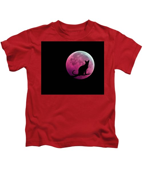Black Cat And Pink Full Moon Kids T-Shirt