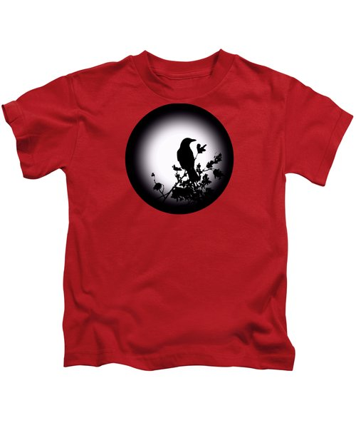 Blackbird In Silhouette  Kids T-Shirt by David Dehner