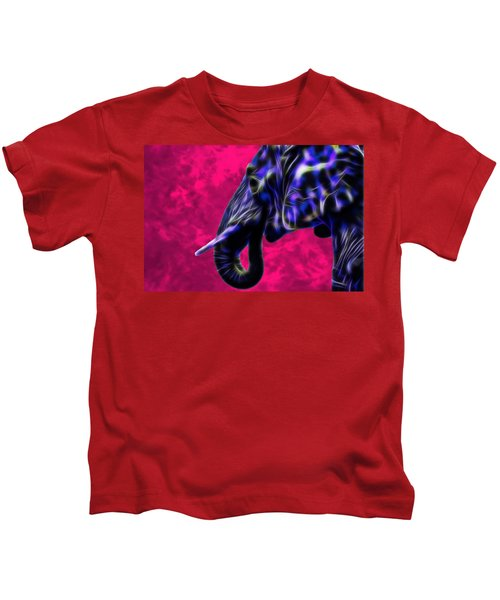 Blue Fractal Elephant With Pink Background Kids T-Shirt