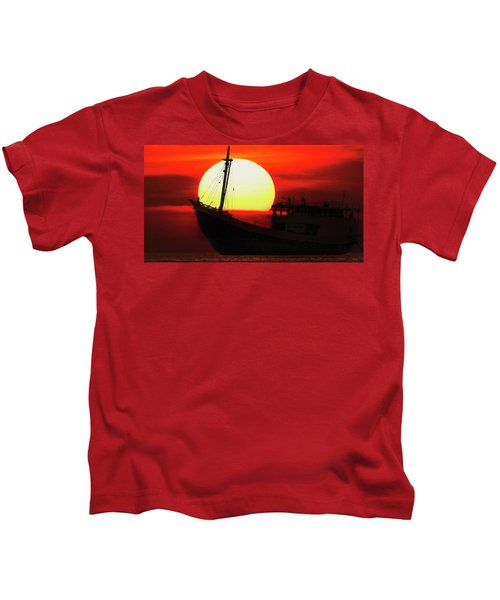 Boatman Enjoying Sunset Kids T-Shirt