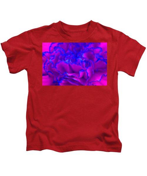 Bold Fuschia Pink And Blue Carnation Flower Kids T-Shirt