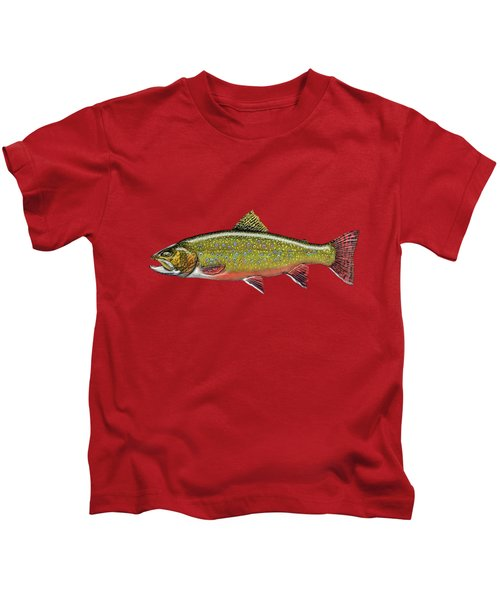 Brook Trout On Red Leather Kids T-Shirt