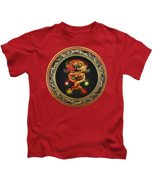 Brotherhood Of The Snake - The Red And The Yellow Dragons On Red Velvet Kids T-Shirt