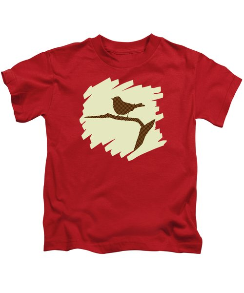 Brown Bird Silhouette Modern Bird Art Kids T-Shirt by Christina Rollo