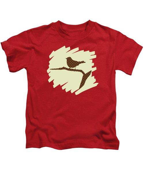 Brown Bird Silhouette Modern Bird Art Kids T-Shirt
