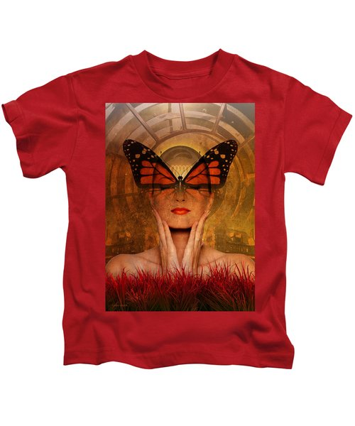 Butterfly Brilliance At The Red Grass Castle Kids T-Shirt