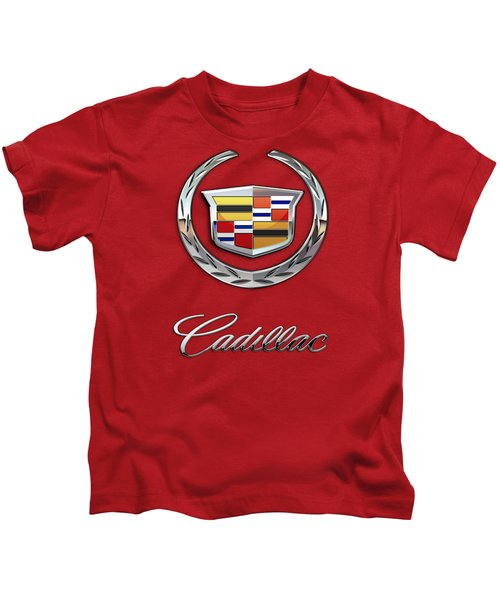 Cadillac - 3 D Badge On Red Kids T-Shirt