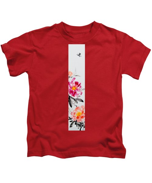 Camellia And Butterfly Kids T-Shirt