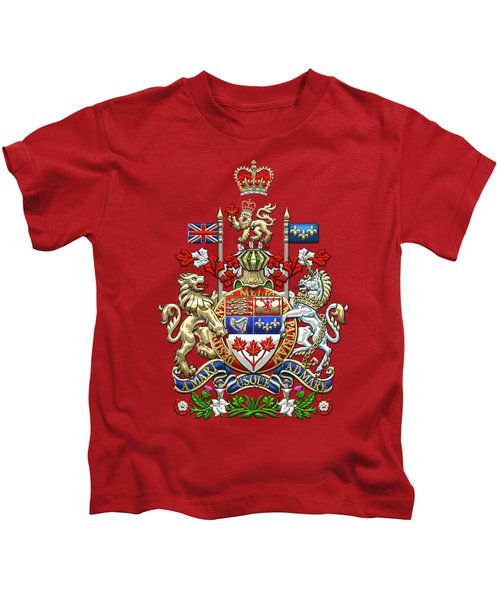 Canada Coat Of Arms Over Red Silk Kids T-Shirt