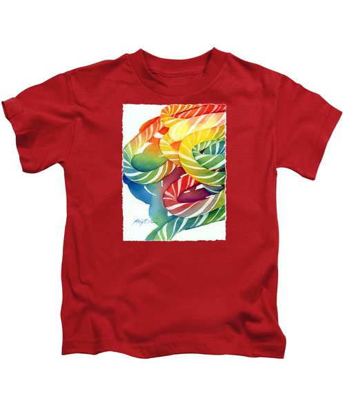 Candy Canes Kids T-Shirt by Hailey E Herrera
