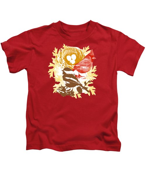 Cardinal Chickadee Birds Nest With Eggs Kids T-Shirt by Christina Rollo